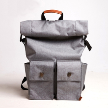 2017 new fashion urban canvas roll top men backpack for travel and city