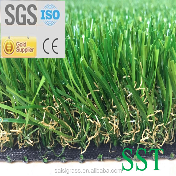 Soft feel Natural colour PE artificial turf grass for landscaping use