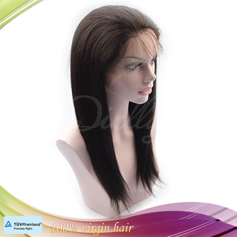 Natural looking free style virgin Malaysian silk straight lace front wig