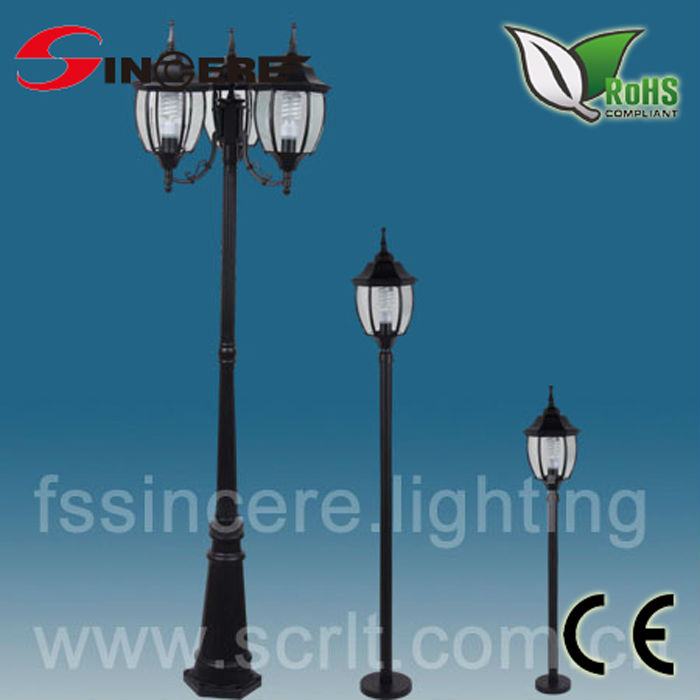 3 lamp Garden cast aluminum light pole with energy saving lamps