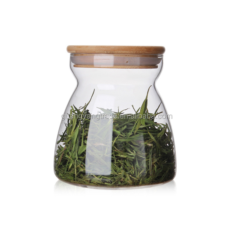 Transparent unique food safety custom decorative glass storage jar container with cork lid