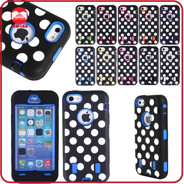 Hot Selling 3 in 1 Soft Rubber Hard Plastic Polk Dots Impact Tuff Hybrid Case for Iphone 5C