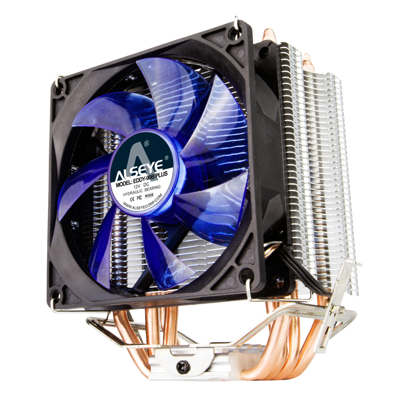 Alseye Eddy-90B CPU Cooler with 4 Direct Contact Heatpipes, duel fans