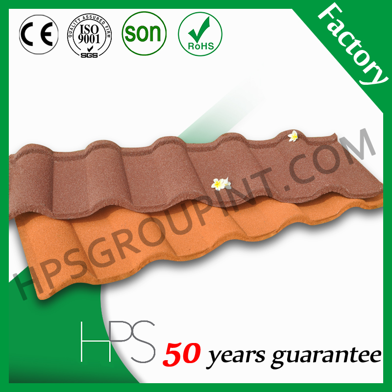 Factory supply al-zinc coat stone coated metal roof tile