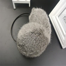 factory price fashion heated real rex rabbit fur earmuffs