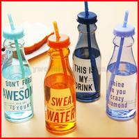 650ML Candy Color Summer Soda Bottle Zakka Sport Water Bottle with Straw