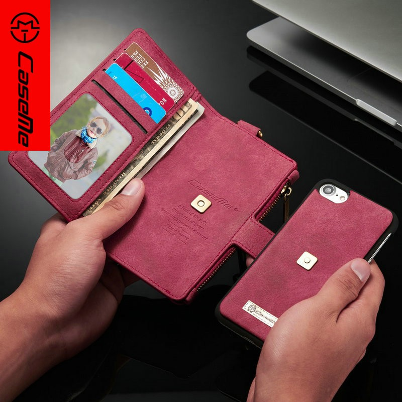 For Iphone 7 Protective Wallet Cover Shockproof Leather Case With Credit Card Slot Holder