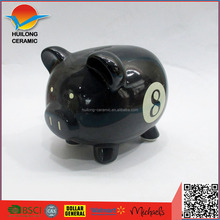 Direct factory produce wholesale ceramic black piggy bank,ceramic black pig shaped money banks