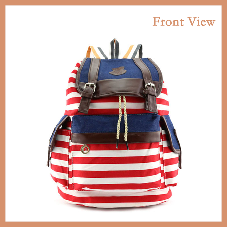 Hot Style Female Canvas Backpack With Drawstring And Zebra Pattern For Young Lady