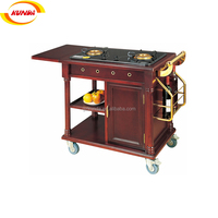 hotel solid wood flambe trolley moving cooking cart wood fish cart B-025