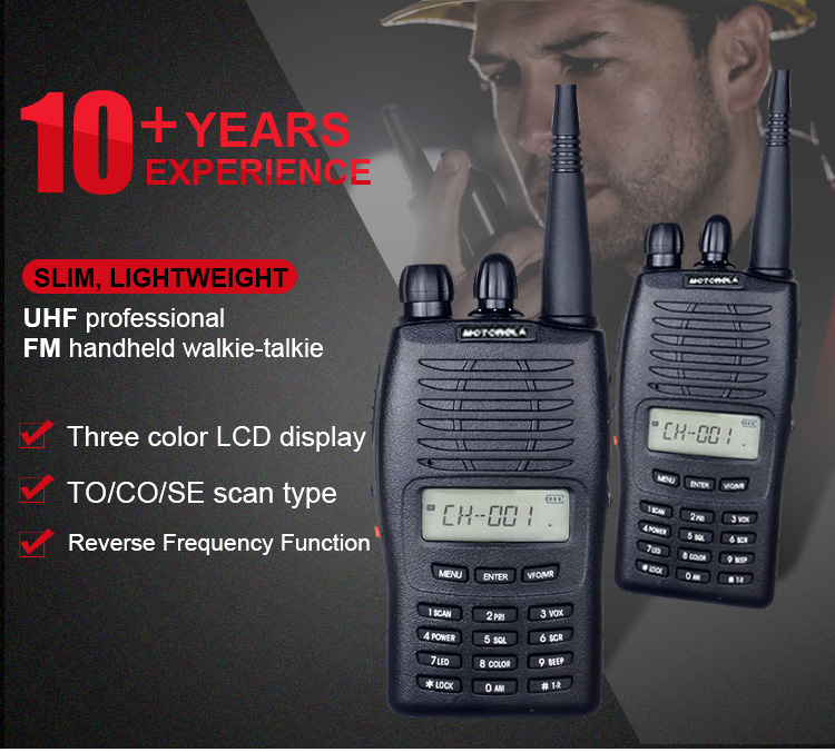 High Quality Motorola Three Color LCD Backlight Display Long Distance Wireless Hand Walkie Talkie