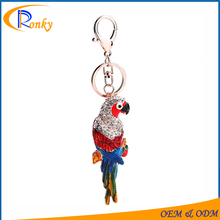 China factory supply cheap metal 3d bird personalized keychain promo items