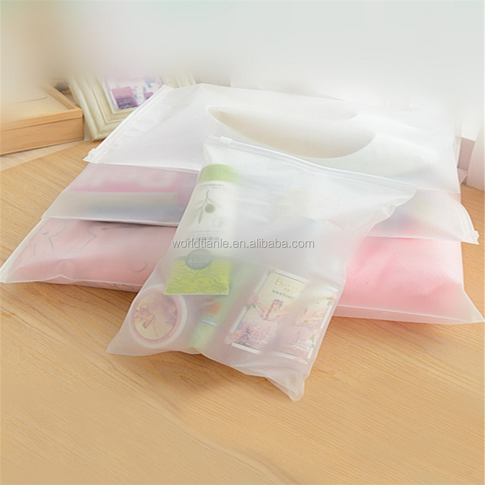 custom printing translucent frosted plastic PVC slider zipper bag for garment packaging