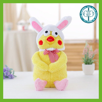 Wholesale best made kawaii yellow comical stuffed plush birds with hat