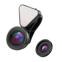 New 3 in 1 Mini Clip-on Brightness Cell Phone Camera Lens Kit 15X Macro Lens & 0.4X - 0.6X Wide Angle Lens with Beauty LED Flash