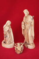 statue of holy family olive wood carving