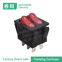 250V 10A double pole double throw red head 6 pin rocker switch KCD2-202A ON-OFF
