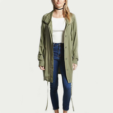 clothing wholesale manufacturing olive drawstring longline women bomber jacket