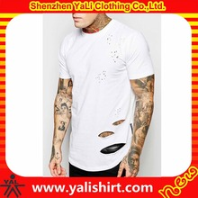 Designer oem fitness white soft curved hem short sleeve round neck cotton jersey blank distressed t-shirts with rips