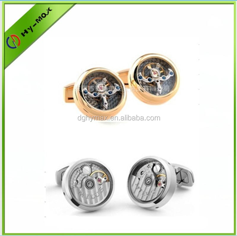unique stainless steel movement metal cuff links