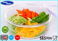 High Quality plastic lid storage borosilicate glass food container round