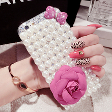 Beauty Flower Full Diamond Bling Rhinestone Pearl Mobile Phone Case For iPhone 6 Apple iPhone 6s