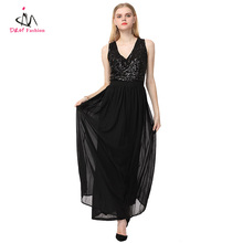 Deep V Neck Backless Sequined High Waist Evening Party Dress Patchwork Waistband Pleated Chiffon Loose Black Long Dress