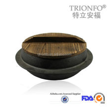 New design Pre-seasoned cast iron Korea cookware with wood lid china supplier