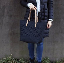 OEM High Quality Handmade Dot Pattern <strong>Tote</strong> <strong>Bag</strong> Felt <strong>Bag</strong> For Women