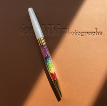 Jewel pen crystal ball pen white with rainbow gems