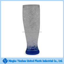 Double wall pilnser plastic freezer mug/Gel mug/ice cup