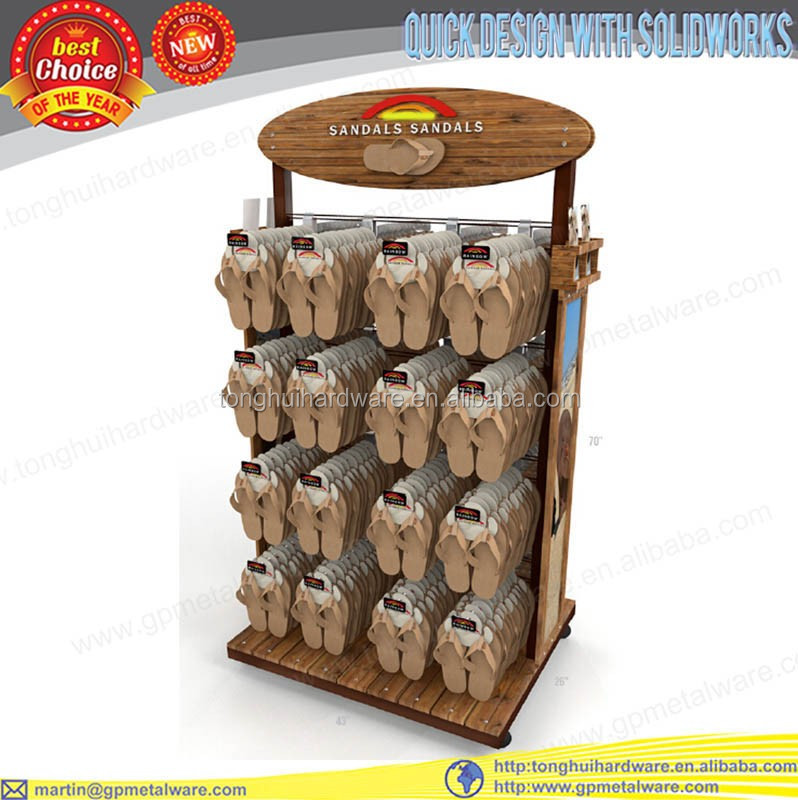 double sided floor wooden slipper display stand