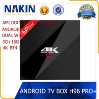 New arrival Amlogic S912 octa core 3G+16G android 6.0 tv box H96 Pro+