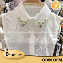 New design fashion white fake collar shirt with rhinestone and pearl beaded DHD1699