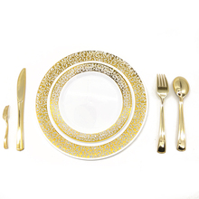 Factory Wholesale Western 25 Sets Disposable Plastic <strong>Plates</strong> Rose Gold Christmas Party Tableware Wedding Tableware Gold <strong>Plates</strong>