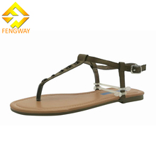 Factory price ladies private label simple flat sandals PU sole