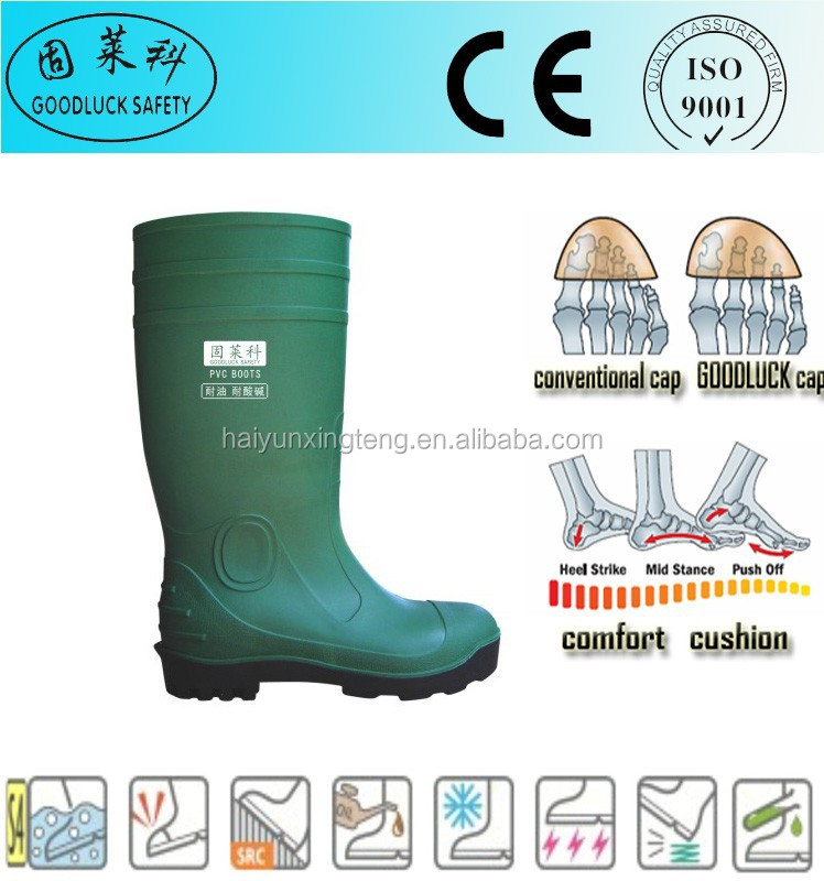 Green Anti-Static Working Safety Shoes PVC Boots