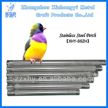 Bird Stand Perch with Stainless Steel and Wooden Material
