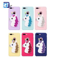 Best selling products 2017 silicone 3D unicorn decorative case bling rhinestones mobile phone cove case for iphone x