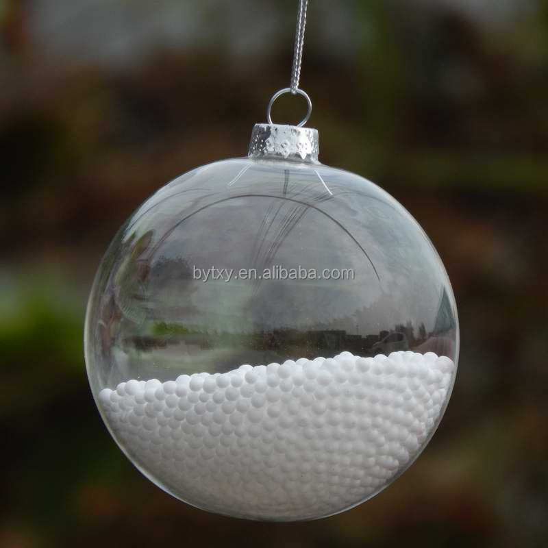 direct distributor ball shape hand blown hanging clear glass baubles