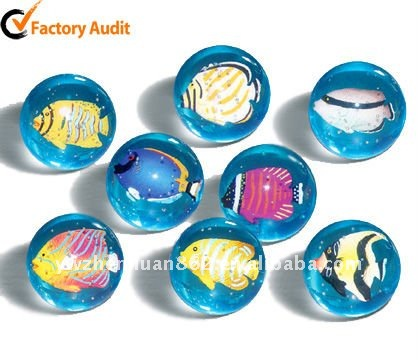 Rubber material 3D shell inset transparent bouncing ball