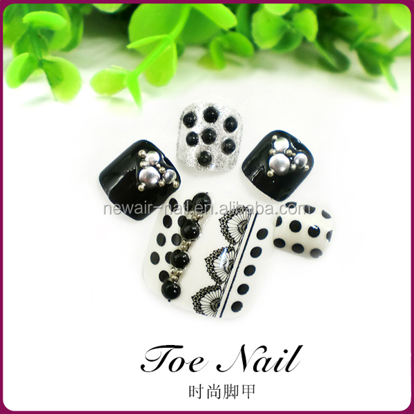 Stock office lady artificial nails for toes black and white fake toe nails