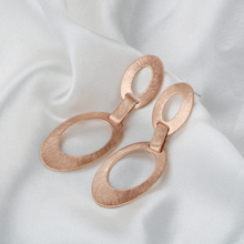 Rose Gold Color Elliptical Rings Shape Stud Earrings Simple Jewelry For Women