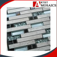 Foshan modern green/gray AMS10O01 Marble shell mosaic tile for indoor and outdoor