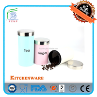 New coffee tea sugar canister sets in light pink powder coating