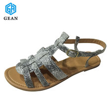 Snake PU Texture Wholesale Beautiful Fancy Flat Rubber Sole Latest Ladies Sandals