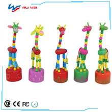 1PC Rocking Giraffe Toy Kids Dancing Standing Wire Control Animal Kids Toys Baby Educational Wooden Toys Blocks Random Color