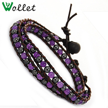 2014 china supplier rope twist fashion purple bean african leather bracelet