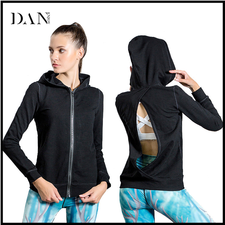 Gym Women Custom Design Long Sleeved Casual Yoga Hooded Coat Breathable Sportswear Fitness Sports Jacket Girls