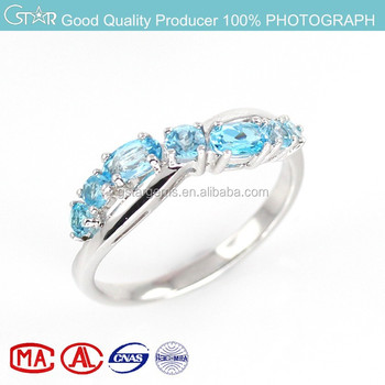 jewelry factory wholesale hot selling new fashion costume jewelry blue topaz rhodium plated silver jewelry ring